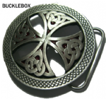 CELTIC CROSS BELT BUCKLE (red background) + display stand